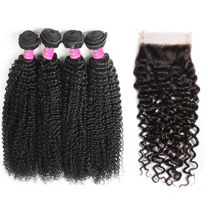 curly 4 bundles with closure