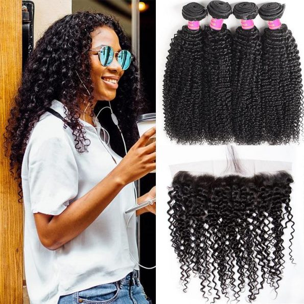 curly 4+1 frontal