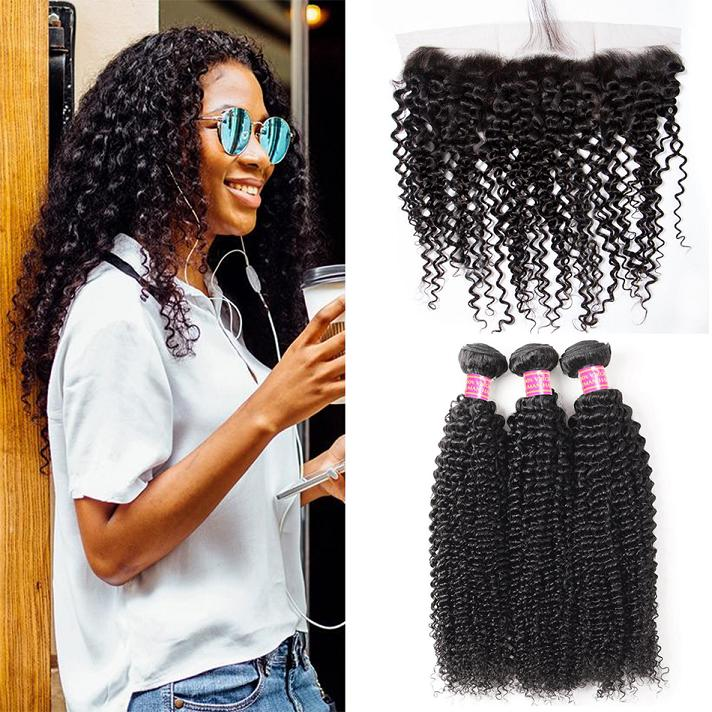 curly-hair-3-bundles with frontal