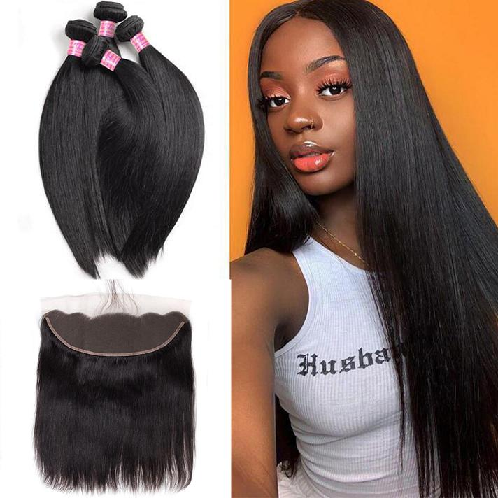straight hair 4bundles with frontal