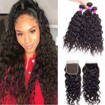 water wave 3 bundles with-closure