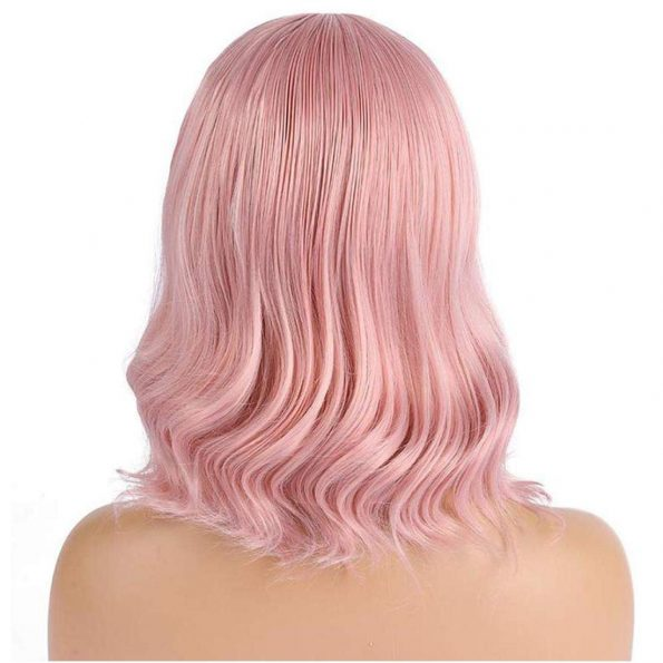 Wavy Wig With Bangs Short Bob Pink Wig for Women Shoulder Length Curly Wavy Synthetic Cosplay Wig for Girl Pastel Colorful Costume Wigs Adjustable Strap Not Slip Off Realistic Nice Looking-2