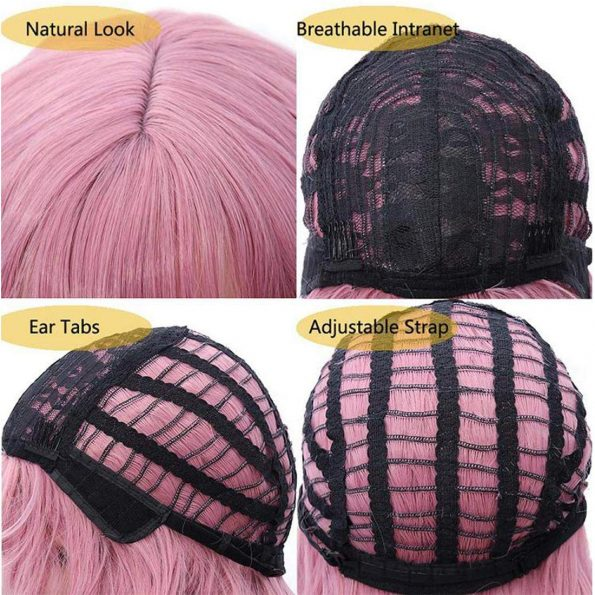 Wavy Wig With Bangs Short Bob Pink Wig for Women Shoulder Length Curly Wavy Synthetic Cosplay Wig for Girl Pastel Colorful Costume Wigs Adjustable Strap Not Slip Off Realistic Nice Looking-4