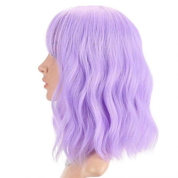 Wavy Wig With Bangs Short Bob Purple Wig for Women Shoulder Length Curly Wavy Synthetic Cosplay Wig for Girl Pastel Colorful Costume Wigs Adjustable Strap Not Slip Off Realistic Nice Looking-2