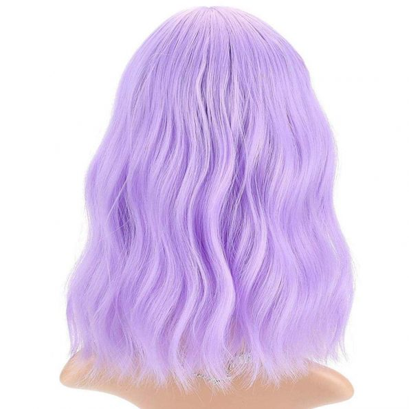 Wavy Wig With Bangs Short Bob Purple Wig for Women Shoulder Length Curly Wavy Synthetic Cosplay Wig for Girl Pastel Colorful Costume Wigs Adjustable Strap Not Slip Off Realistic Nice Looking-3