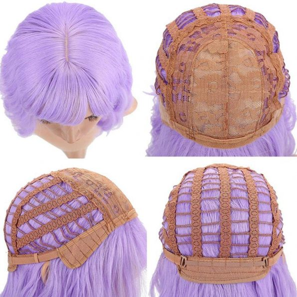 Wavy Wig With Bangs Short Bob Purple Wig for Women Shoulder Length Curly Wavy Synthetic Cosplay Wig for Girl Pastel Colorful Costume Wigs Adjustable Strap Not Slip Off Realistic Nice Looking-4