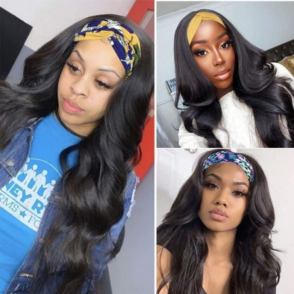 Body Wave Headband Wig No Gel Synthetic Long Wavy Wigs for Black Women (22 inch) Natural Color Wigs with Headbands Attached-1