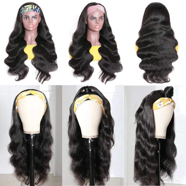 Body Wave Headband Wig No Gel Synthetic Long Wavy Wigs for Black Women (22 inch) Natural Color Wigs with Headbands Attached-2