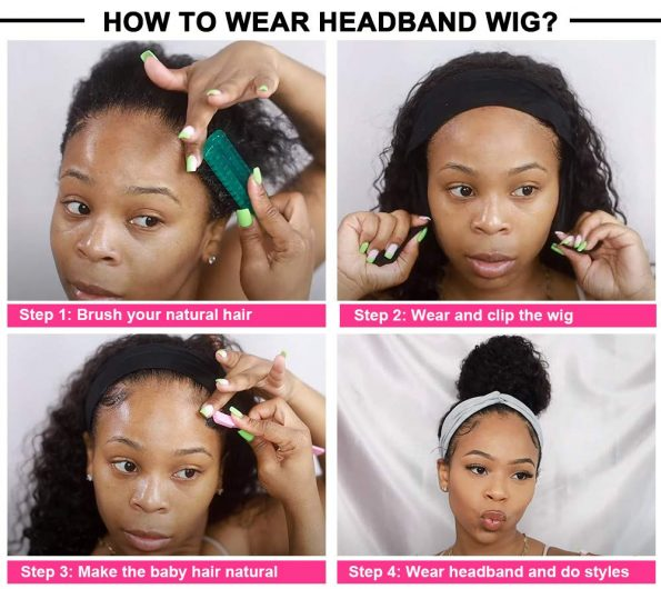 Body Wave Headband Wig No Gel Synthetic Long Wavy Wigs for Black Women (22 inch) Natural Color Wigs with Headbands Attached-4
