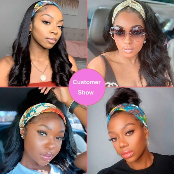 Body Wave Headband Wig No Gel Synthetic Long Wavy Wigs for Black Women (22 inch) Natural Color Wigs with Headbands Attached-6