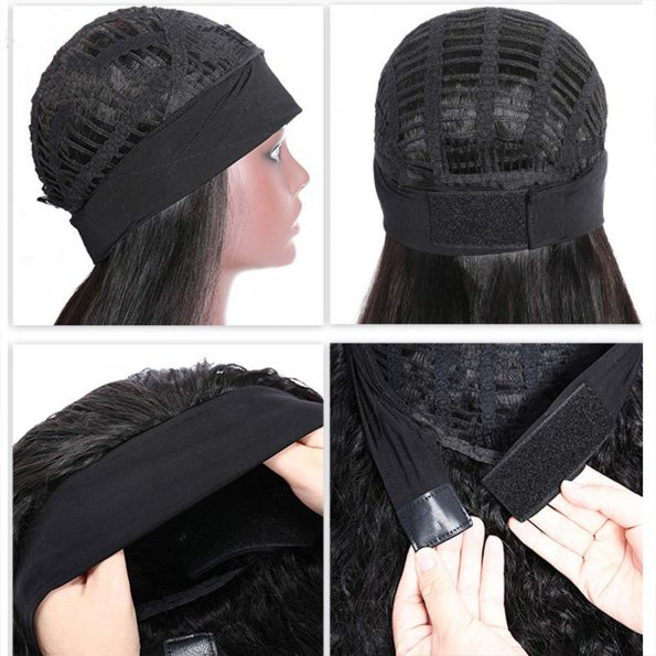 Body Wave Headband Wig No Gel Synthetic Long Wavy Wigs for Black Women (22 inch) Natural Color Wigs with Headbands Attached-7
